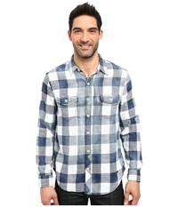 True Grit Rockin Roll Indigo Buffalo Plaid Long Sleeve Two Pocket Vintage Shirt Denim Men's Clothing Blue