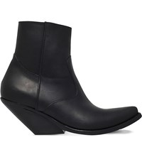 Vetements Slanted Heel Leather Cowboy Boots Black