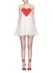 Giamba Strapless Heart Embroidery Fringe Organdy Dress White