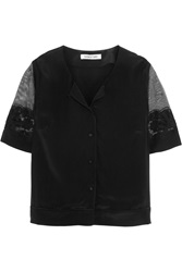 Elizabeth And James Ada Embellished Cotton Lace And Washed Silk Blouse