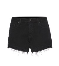 Rag And Bone Cut Off Embellished Denim Shorts Black