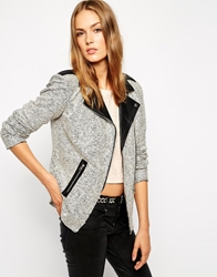 Vila Biker Blazer With Contrast Black Collar