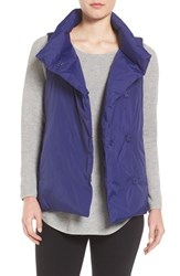 Eileen Fisher Women's Weather Resistant Stand Collar Down Vest Deep Adriatic