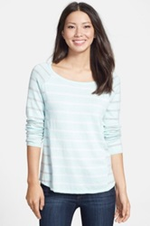 Fever Contrast Stripe Cotton Blend Sweater Blue