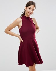 Daisy Street Skater Dress With Contrast Detail Burgundy Red