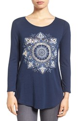 Lucky Brand Women's 'Gold Mandala' Graphic Tee American Navy