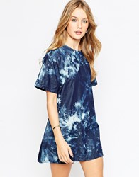 Motel Patty T Shirt Dress In Jumputan Denim Print Blue