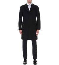 Gieves And Hawkes Textured Wool Cashmere Coat Navy