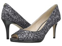 Cole Haan Davis Open Toe Pump 75Mm Silver Gunmetal Glitter Pv Light Women's Shoes Black