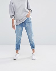 New Look Mom Jeans In Star Print Pale Blue