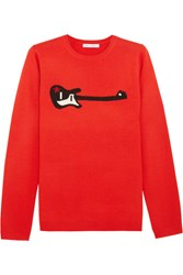 Bella Freud Guitar Star Intarsia Wool Blend Sweater Red