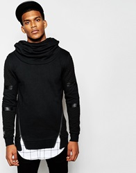 Black Kaviar Hoodie With Cowl Neck