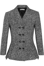 Michael Kors Collection Wool Tweed Peplum Jacket Black