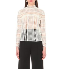 Self Portrait Contrast Lace Panelled Top Off White