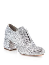 Miu Miu Glitter Oxford Block Heel Pumps Argento