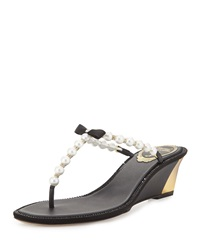 Pearly Bow Wedge Sandal Black Rene Caovilla
