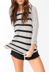 Forever 21 Striped Dolman Top Heather Grey Black