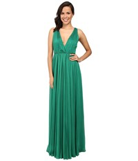 Halston Chiffon V Neck Gown Emerald Women's Dress Green