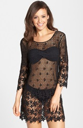 J Valdi Crochet Cover Up Tunic Black