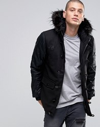 Brave Soul Faux Leather Arm Faux Fur Hooded Parka Black