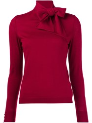 Vanessa Seward Bow Collar Knitted Blouse Red