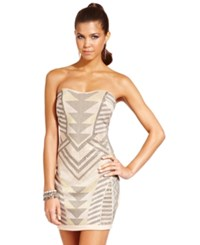 Ruby Rox Juniors Dress Strapless Studded Bodycon Taupe