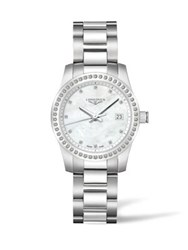 Longines Conquest Diamond Mother Of Pearl And Stainless Steel Watch No Color