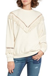J.O.A. Women's Openwork Inset Fringe Pullover
