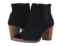 Toms Majorca Peep Toe Bootie Black Suede Perforated Women's Toe Open Shoes Gray