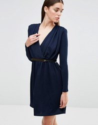 Twin Sister Long Sleeve Plunge Belted Skater Dress Navy