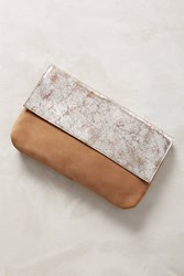 Anthropologie Two Tone Clutch Neutral Motif