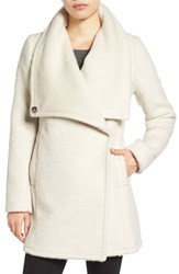 Belle Badgley Mischka Women's 'Anna' Brushed Wool Blend Coat Ivory