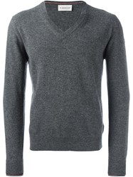 Moncler V Neck Sweater Grey
