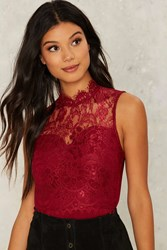 Rare London Shannon Lace Bodysuit Red