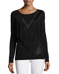Ella Moss Long Sleeve Top W Fringe Detail Black
