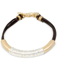 Robert Lee Morris Soho Two Tone Leather Wire Wrapped Bracelet