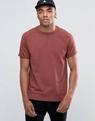 New Look Short Sleeve Sweat In Rust Rust Red