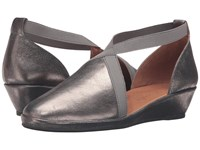 Gentle Souls Natalia Graphite Leather Women's Dress Flat Shoes Silver