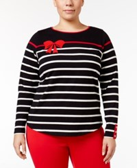 Charter Club Plus Size Striped Bow Top Only At Macy's Deep Black Combo
