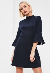 Missguided Blue Crepe 3 4 Flared Sleeve Fit And Flare Dress