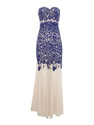 Lipsy Strapless Bandeau Lace Maxi Dress Navy