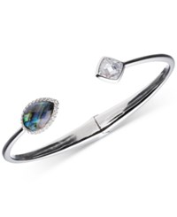 Judith Jack Sterling Silver Abalone And Crystal Hinged Cuff Bracelet