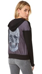 Terez Crystal Skull Zip Up Hoodie Black