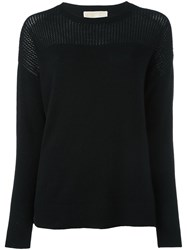 Michael Michael Kors Open Knit Detail Jumper Black