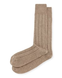 Neiman Marcus Cashmere Blend Ribbed Socks Taupe