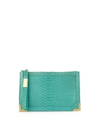 Foley Corinna Genesis Snake Embossed Leather Clutch Bag Jade
