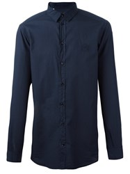 Dolce And Gabbana Crown Embroidered Shirt Blue
