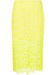 Veronica Beard Lace Pencil Skirt Yellow And Orange