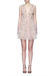 Valentino Sequin Star Plunge Tulle Dress Neutral Metallic