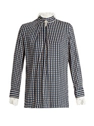 Preen Neffs Gingham Twill And Lace Blouse Navy Print